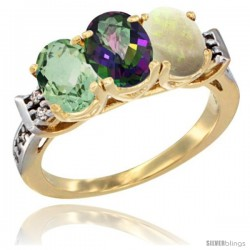 10K Yellow Gold Natural Green Amethyst, Mystic Topaz & Opal Ring 3-Stone Oval 7x5 mm Diamond Accent