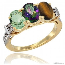 10K Yellow Gold Natural Green Amethyst, Mystic Topaz & Tiger Eye Ring 3-Stone Oval 7x5 mm Diamond Accent