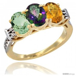 10K Yellow Gold Natural Green Amethyst, Mystic Topaz & Whisky Quartz Ring 3-Stone Oval 7x5 mm Diamond Accent