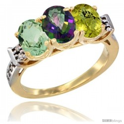 10K Yellow Gold Natural Green Amethyst, Mystic Topaz & Lemon Quartz Ring 3-Stone Oval 7x5 mm Diamond Accent