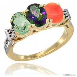 10K Yellow Gold Natural Green Amethyst, Mystic Topaz & Coral Ring 3-Stone Oval 7x5 mm Diamond Accent