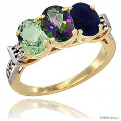 10K Yellow Gold Natural Green Amethyst, Mystic Topaz & Lapis Ring 3-Stone Oval 7x5 mm Diamond Accent