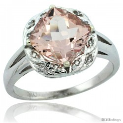 10k White Gold Diamond Halo Morganite Ring 2.7 ct Checkerboard Cut Cushion Shape 8 mm, 1/2 in wide