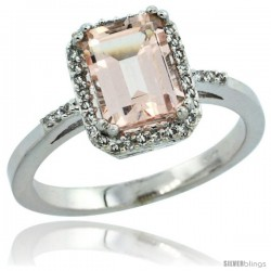 10k White Gold Diamond Morganite Ring 1.6 ct Emerald Shape 8x6 mm, 1/2 in wide -Style Cw913129