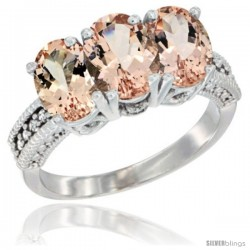 10K White Gold Natural Morganite Ring 3-Stone Oval 7x5 mm Diamond Accent