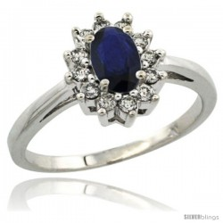 Sterling Silver Natural Blue Sapphire Diamond Halo Ring Oval Shape 1.2 Carat 6X4 mm, 1/2 in wide