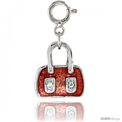 Sterling Silver Jeweled Purse Pendant, Orange-Red Enamel, w/ CZ Stones, 9/16 in. (14 mm)