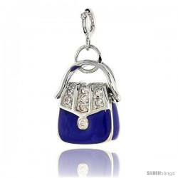 Sterling Silver Jeweled Purse Pendant, Blue Enamel, w/ CZ Stones, 13/16 in. (21 mm)