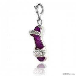 Sterling Silver Jeweled Sandal Pendant, Fuchsia Pink Enamel, w/ CZ Stones, 7/8 in. (22 mm)