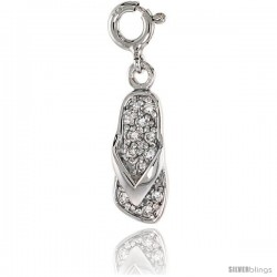 Sterling Silver Jeweled Flip-flop Pendant, w/ CZ Stones, 13/16 in. (20 mm)
