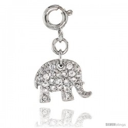 Sterling Silver Jeweled Elephant Pendant, w/ CZ Stones, 3/8 in. (10 mm)