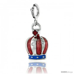 Sterling Silver Crown Pendant, Red and Blue Enamel & CZ stone, 5/8 in. (16 mm)
