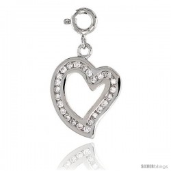 Sterling Silver Jeweled Heart Pendant, w/ CZ Stones, 13/16 in. (20 mm)
