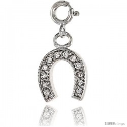 Sterling Silver Jeweled Horseshoe Pendant, w/ CZ Stones, 11/16 in. (17 mm)