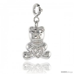 Sterling Silver Jeweled Teddy Bear Pendant, w/ Heart & Cubic Zirconia, 11/16 in. (18 mm)