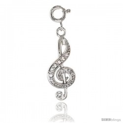 Sterling Silver Jeweled G-Clef Pendant, w/ CZ Stones, 1 in. (25 mm)
