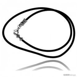 2mm Rubber cord necklace with sterling silver Crimp Type findings