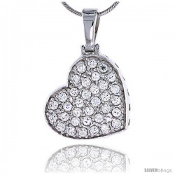 "Sterling Silver Jeweled Heart Pendant, w/ Cubic Zirconia stones, 13/16"" (21 mm) tall -Style Cp0066"