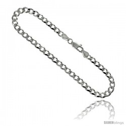 Sterling Silver Italian Curb Chain Necklaces & Bracelets 4.5mm Beveled Edges Nickel Free