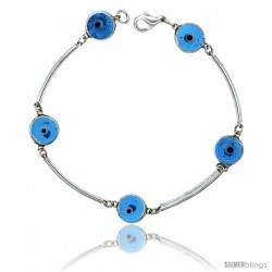 Sterling Silver Translucent Blue Color Evil Eye Bracelet, 3/8 in (10 mm) wide -Style Eib303