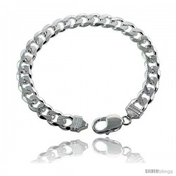 Sterling Silver Italian Curb Chain Necklaces & Bracelets 9mm Heavy weight Beveled Edges Nickel Free