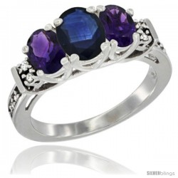 14K White Gold Natural Blue Sapphire & Amethyst Ring 3-Stone Oval with Diamond Accent