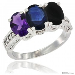 14K White Gold Natural Amethyst, Blue Sapphire & Black Onyx Ring 3-Stone 7x5 mm Oval Diamond Accent