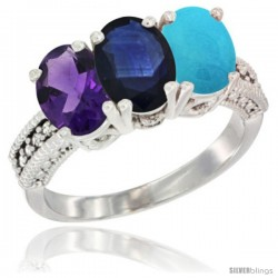 14K White Gold Natural Amethyst, Blue Sapphire & Turquoise Ring 3-Stone 7x5 mm Oval Diamond Accent