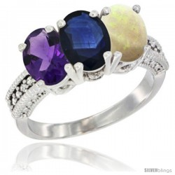 14K White Gold Natural Amethyst, Blue Sapphire & Opal Ring 3-Stone 7x5 mm Oval Diamond Accent