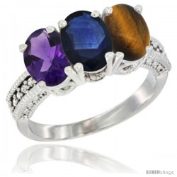 14K White Gold Natural Amethyst, Blue Sapphire & Tiger Eye Ring 3-Stone 7x5 mm Oval Diamond Accent