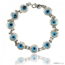 Sterling Silver Translucent Blue Color Evil Eye Bracelet, 3/8 in (10 mm) wide -Style Eib304