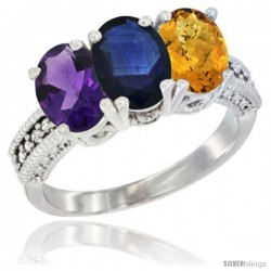 14K White Gold Natural Amethyst, Blue Sapphire & Whisky Quartz Ring 3-Stone 7x5 mm Oval Diamond Accent