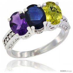 14K White Gold Natural Amethyst, Blue Sapphire & Lemon Quartz Ring 3-Stone 7x5 mm Oval Diamond Accent