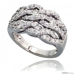 Sterling Silver Triple Rope Pattern Cubic Zirconia Ring with High Quality Brilliant Cut Stones, 1/2 in (12 mm) wide