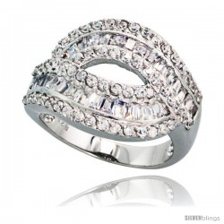 Sterling Silver Cocktail Cubic Zirconia Ring with High Quality Brilliant & Baguette Cut Stones, 11/16 in (17 mm) wide