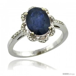 Sterling Silver Diamond Halo Natural Blue Sapphire Ring 1.65 Carat Oval Shape 9X7 mm, 7/16 in (11mm) wide