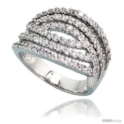 Sterling Silver 6-row Cut-out Cubic Zirconia Ring with High Quality Brilliant Cut Stones, 11/16 in (17 mm) wide