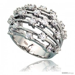 Sterling Silver Domed Wire Cubic Zirconia Ring with High Quality Brilliant Cut Stones, 11/16 in (17 mm) wide