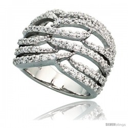 Sterling Silver Flames Pattern Cubic Zirconia Ring with High Quality Brilliant Cut Stones, 11/16 in (17 mm) wide