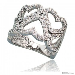 Sterling Silver Hearts Cut Out Cubic Zirconia Ring with High Quality Brilliant Cut CZ Stones, 5/8 in (16 mm) wide