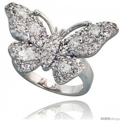 Sterling Silver Butterfly Cubic Zirconia Ring Covered with assorted High Quality CZ Stones, 1 1/2 in (30 mm) wide
