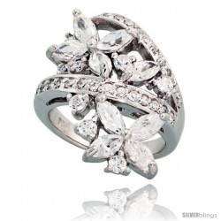 Sterling Silver Flower Garden Cubic Zirconia Ring with 1/4 carat size Marquise Cut Stones, 1 1/8 in (28 mm) wide