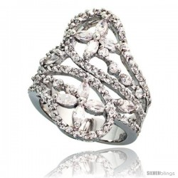 Sterling Silver Flower Pattern Cubic Zirconia Spoon Ring with 1/10 carat size Marquise Cut Stones, 1 1/16 in (27 mm) wide