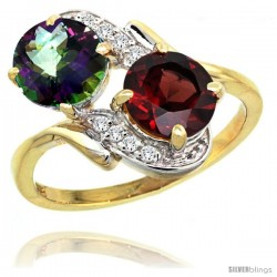 14k Gold ( 7 mm ) Double Stone Engagement Mystic Topaz & Garnet Ring w/ 0.05 Carat Brilliant Cut Diamonds & 2.34 Carats Round