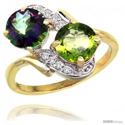 14k Gold ( 7 mm ) Double Stone Engagement Mystic Topaz & Peridot Ring w/ 0.05 Carat Brilliant Cut Diamonds & 2.34 Carats Round