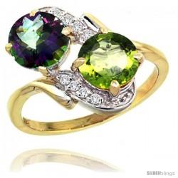 14k Gold ( 7 mm ) Double Stone Engagement Mystic Topaz & Peridot Ring w/ 0.05 Carat Brilliant Cut Diamonds & 2.34 Carats Round