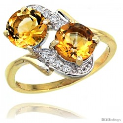 14k Gold ( 7 mm ) Double Stone Engagement Citrine Ring w/ 0.05 Carat Brilliant Cut Diamonds & 2.34 Carats Round Stones, 3/4 in