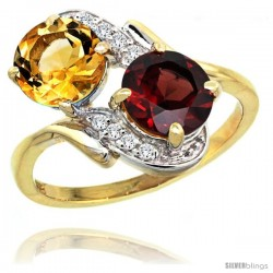 14k Gold ( 7 mm ) Double Stone Engagement Citrine & Garnet Ring w/ 0.05 Carat Brilliant Cut Diamonds & 2.34 Carats Round