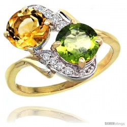 14k Gold ( 7 mm ) Double Stone Engagement Citrine & Peridot Ring w/ 0.05 Carat Brilliant Cut Diamonds & 2.34 Carats Round