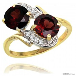 14k Gold ( 7 mm ) Double Stone Engagement Garnet Ring w/ 0.05 Carat Brilliant Cut Diamonds & 2.34 Carats Round Stones, 3/4 in